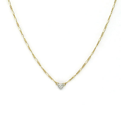 Minimalist Diamond Heart 14k Gold Necklace Vintage, 1930s to 1980s