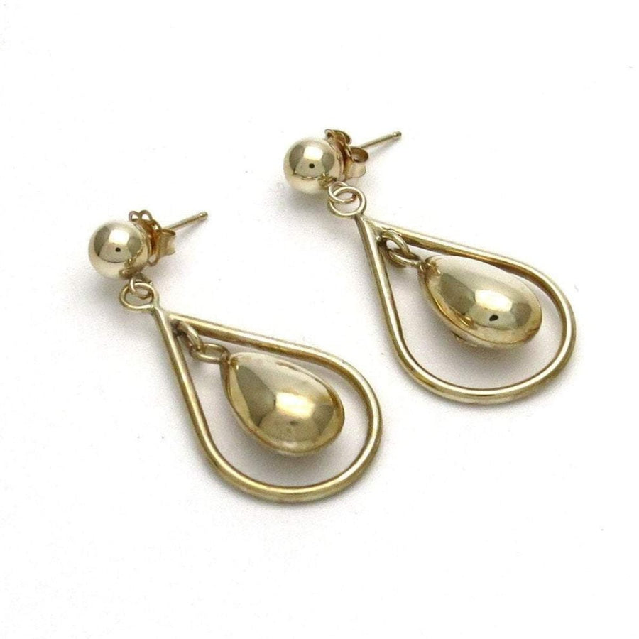 Minimalist Double Drop 10k Gold Earrings Contemporary, Post 1990