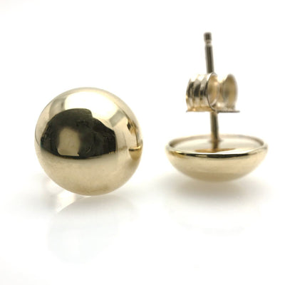 Minimalist Gold Button Stud Earrings 10MM Vintage, 1930s to 1980s