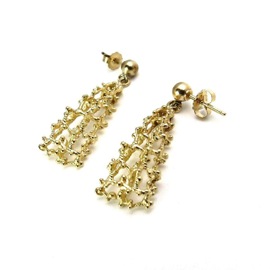 Modernist 14k Gold Drop Earrings Vintage, 1930s to 1980s