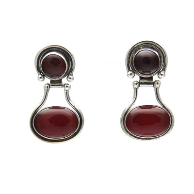 Modernist Carnelian Sterling Silver Statement Earrings Vintage, 1930s to 1980s