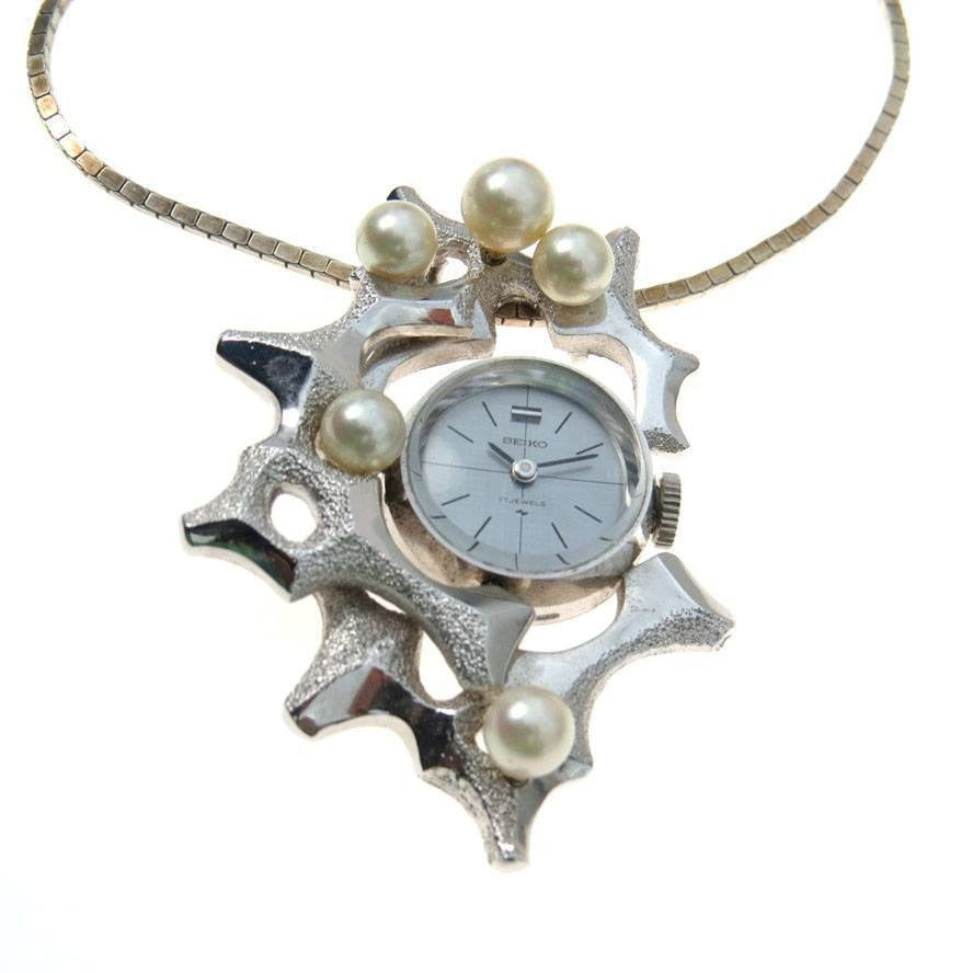 Modernist Seiko Pendant Watch Necklace Abstract Design Cultured Pearls Vintage, 1930s to 1980s