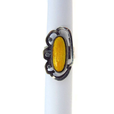 Modernist Silver Ring Sunny Yellow Enamel Vintage, 1930s to 1980s