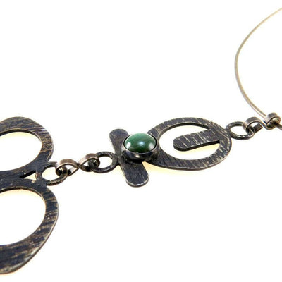 Modernist Statement Necklace Bronze & Malachite Vintage, 1930s to 1980s