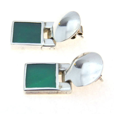 Modernist Sterling Silver Green Onyx Drop Earrings Vintage, 1930s to 1980s