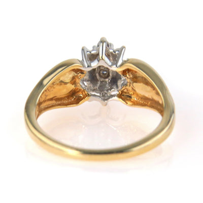 Moissanite Cluster Gold Ring Contemporary, Post 1990