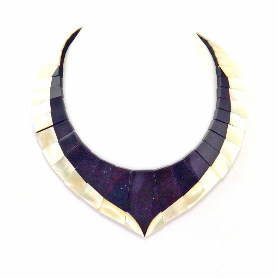 Monies Black White Shell Bib Necklace Vintage, 1930s to 1980s