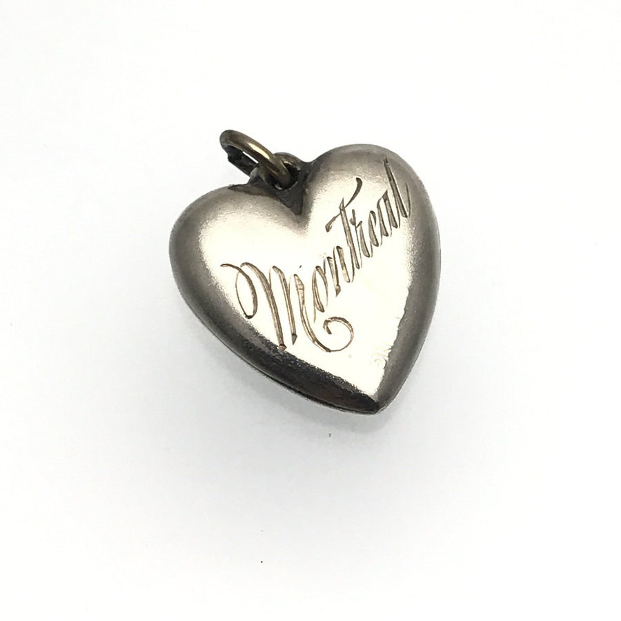 Montreal Souvenir Sterling Silver Victorian Puffy Heart Charm Heraldic Enamel Victorian, 1830s to 1900s