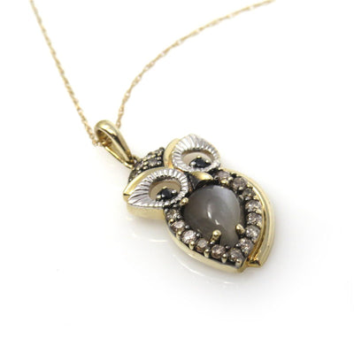 Moonstone Diamond Gold Owl Pendant Necklace Contemporary, Post 1990