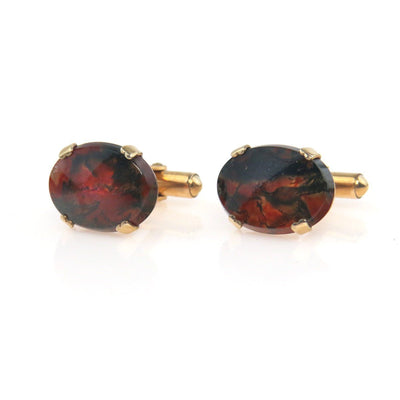 Moss Agate Gold Filled Cufflinks by Destino Vintage, 1930s to 1980s