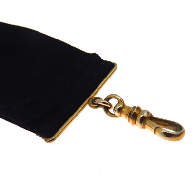 Mourning Watch Fob Black Silk Solid Gold Victorian, 1830s to 1900s