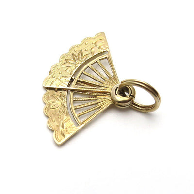 Moveable Fan Charm Pendant in 14k Gold Opens and Closes Edwardian, 1901 to 1920s