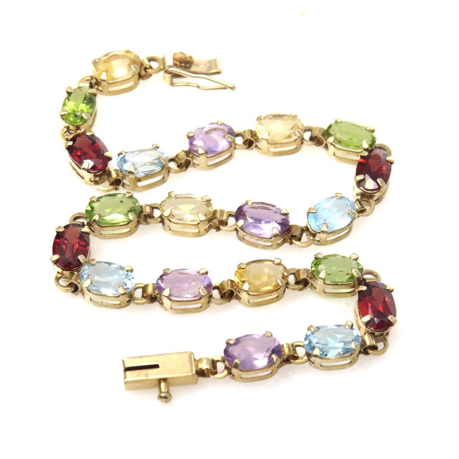 Multi Gemstone Links Line Bracelet 10k Gold Vintage, 1930s to 1980s