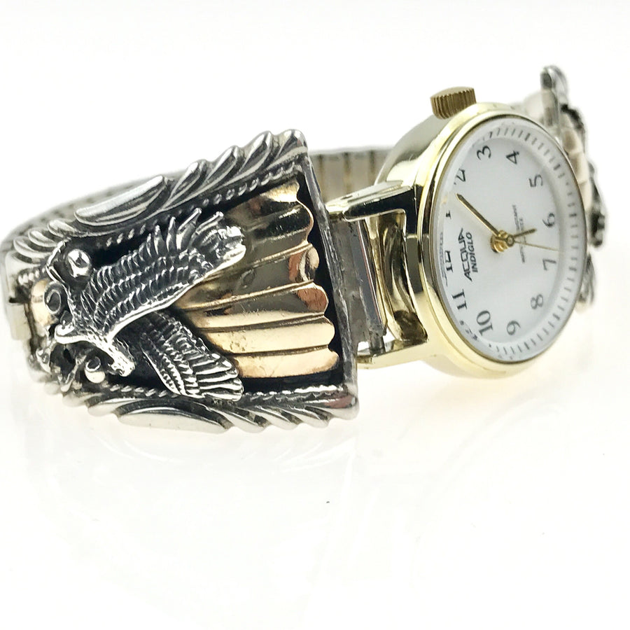 Native American Eagle Watch Sterling Silver Gold Fill Vintage, 1930s to 1980s