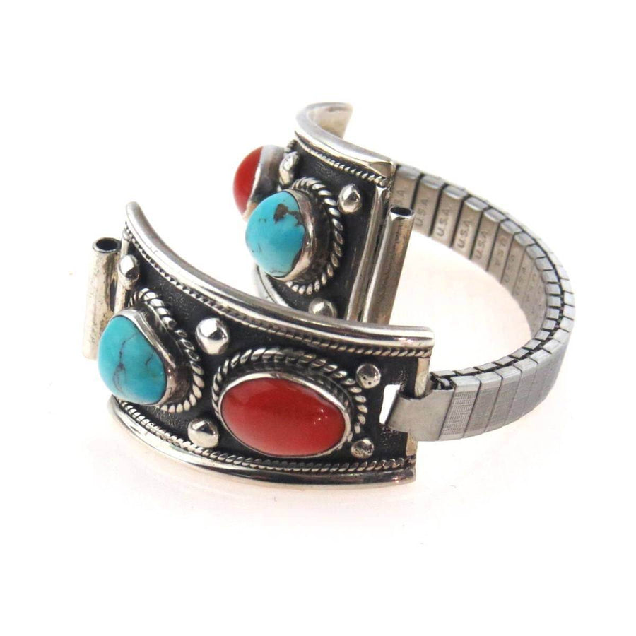 Native American Sterling Silver Watch Band Tips Coral Turquoise Vintage, 1930s to 1980s