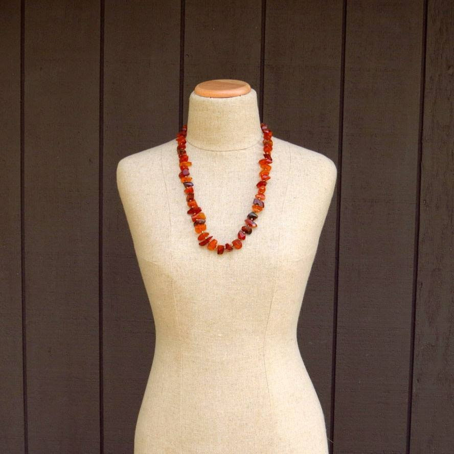 "Natural Amber Necklace 27"" Long Vintage, 1930s to 1980s"