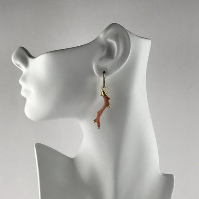 Natural Branch Coral Drop Earrings Vintage, 1930s to 1980s