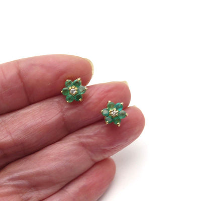 Natural Emerald Diamond Flower Earrings Vintage, 1930s to 1980s