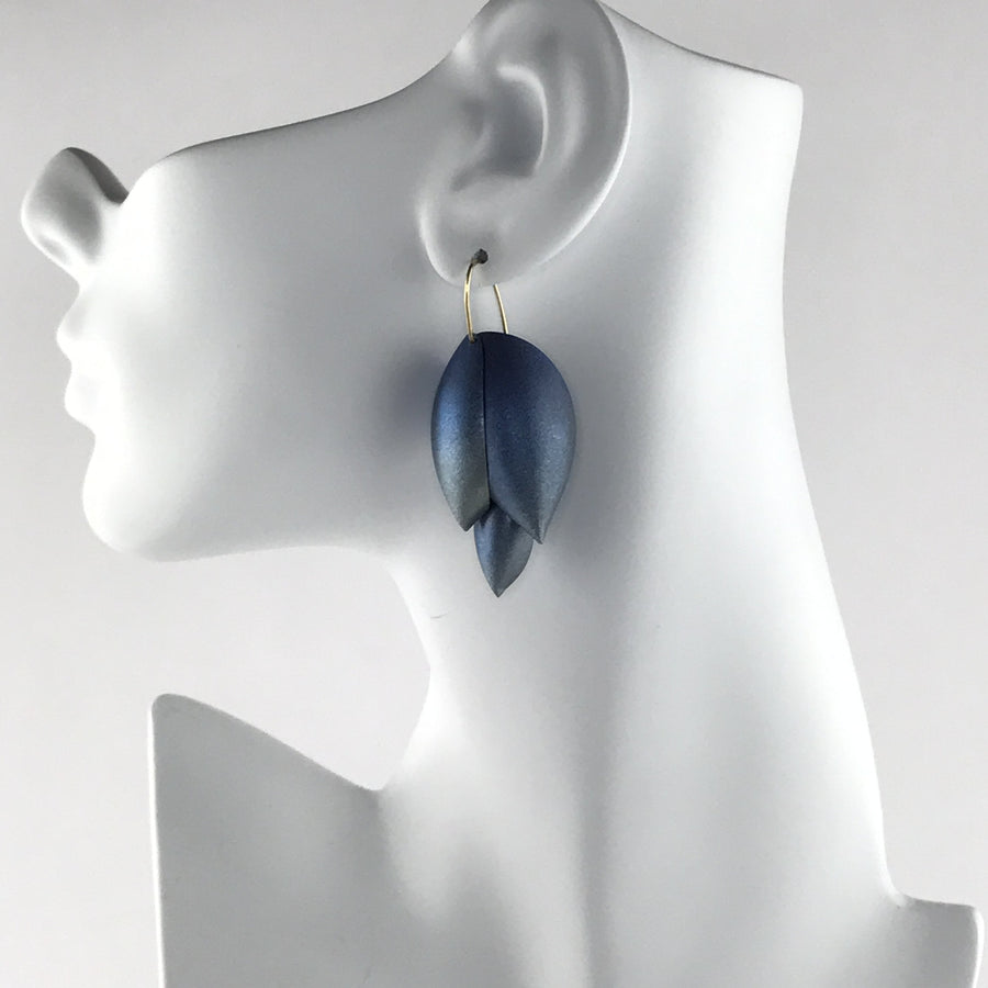 Ted Muehling Asparagus Earrings Blue Niobium 14k Gold Earwires