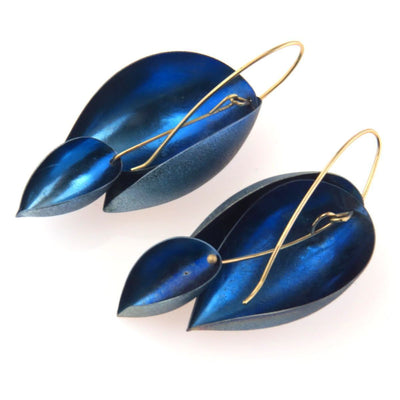 Niobium Petals Earring 14k Gold Earwires Contemporary, Post 1990