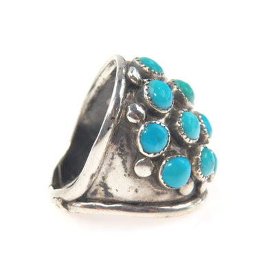 Old Pawn Turquoise Studded Sterling Ring Vintage, 1930s to 1980s