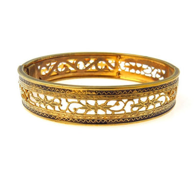 Open Work Hinged Bangle Bracelet Edwardian, 1901 to 1920s