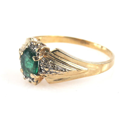 Oval Emerald 10k Gold Ring Vintage, 1930s to 1980s