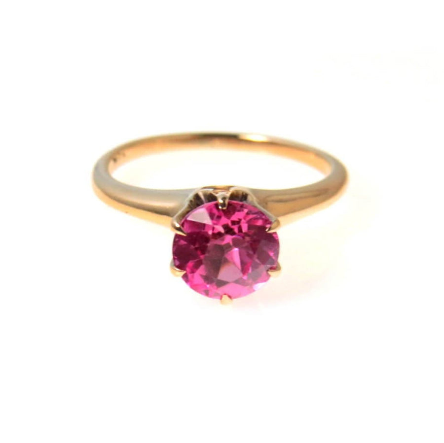 Over The Top Pink Sapphire Rose Gold Solitaire Engagement Ring Vintage, 1930s to 1980s
