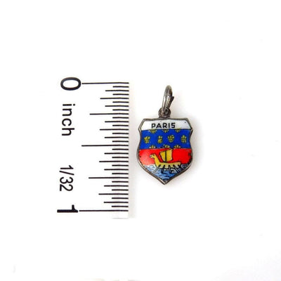 Paris Travel Charm Enameled 800 Silver Vintage, 1930s to 1980s