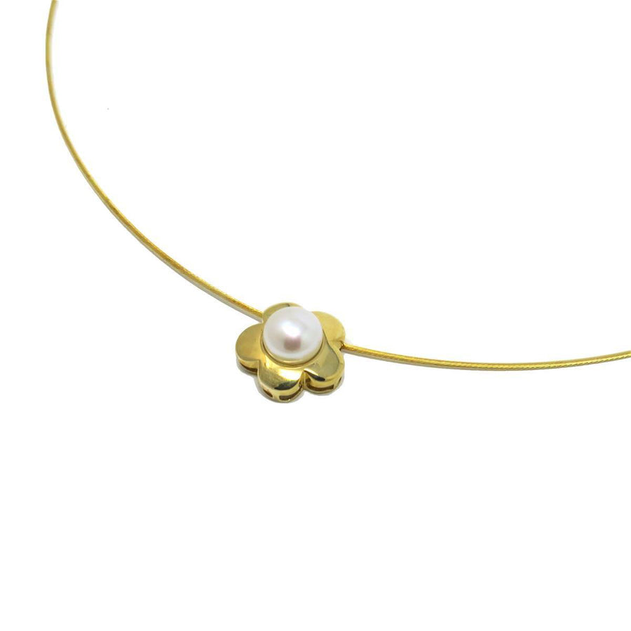 Pearl Daisy 14k Gold Slide Cable Necklace Contemporary, Post 1990
