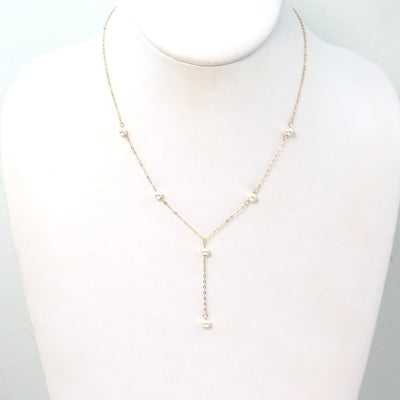Pearl Gold Lariat or Y Necklace Contemporary, Post 1990