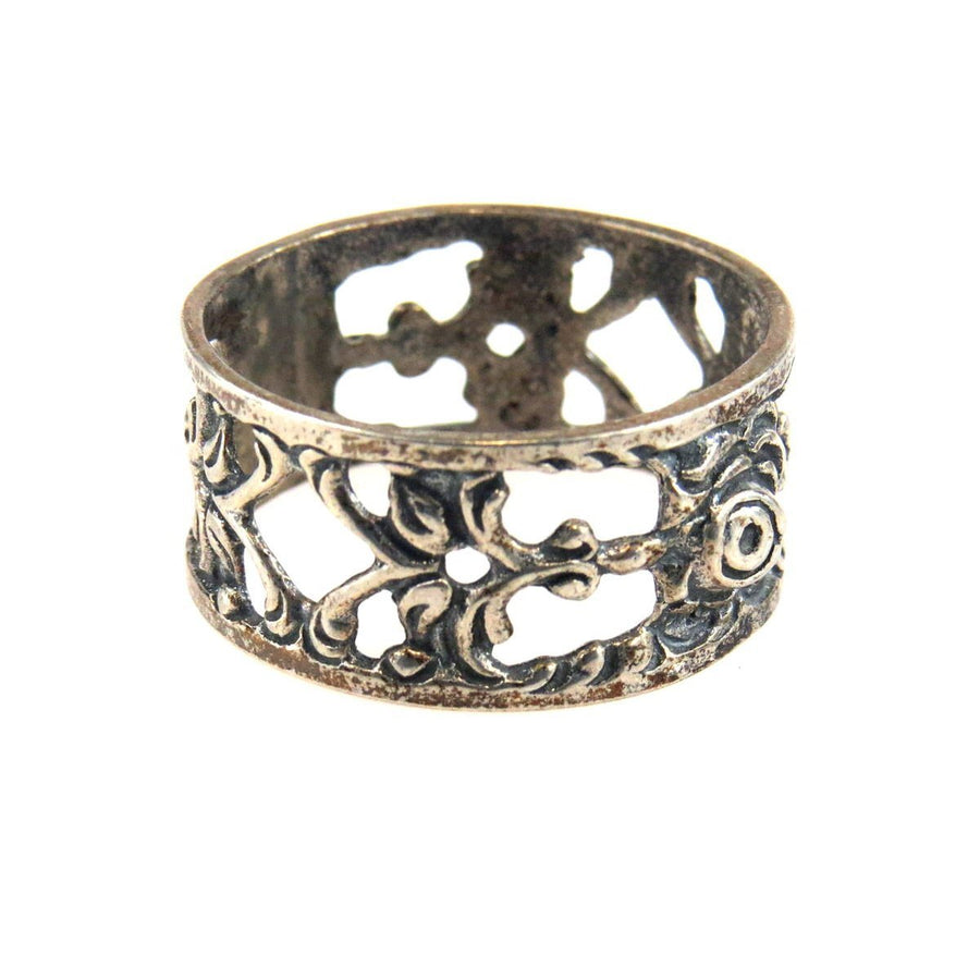 Peruzzi Style Sterling Silver Band Ring Vintage, 1930s to 1980s