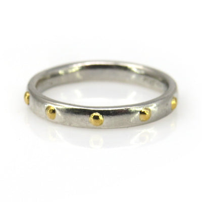Platinum Band Ring with 22k Gold Studs Vintage, 1930s to 1980s