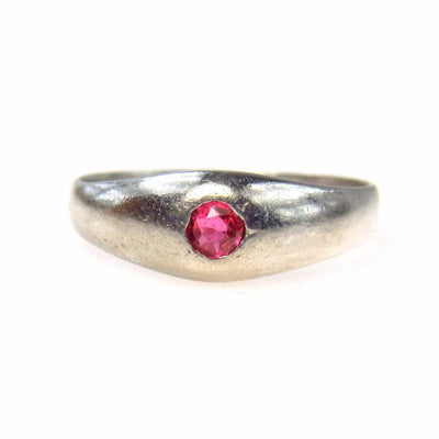 Platinum Ruby Gypsy Ring ca 1910's Edwardian, 1901 to 1920s