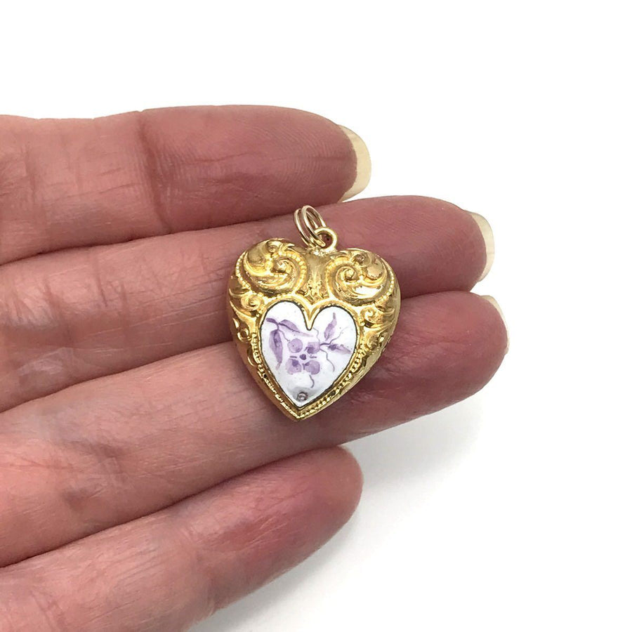 Raised Scroll Enamel Victorian Puffy Heart Gold Filled Victorian, 1830s to 1900s