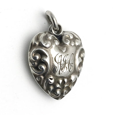 Raised Scroll Sterling Silver Victorian Puffy Heart Charm Victorian, 1830s to 1900s