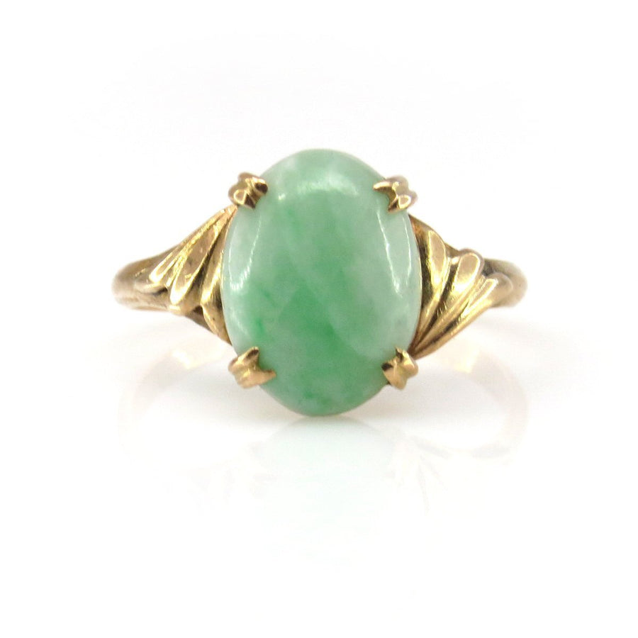 Retro Apple Jade Jadeite 18k Gold Ring Retro, 1940s