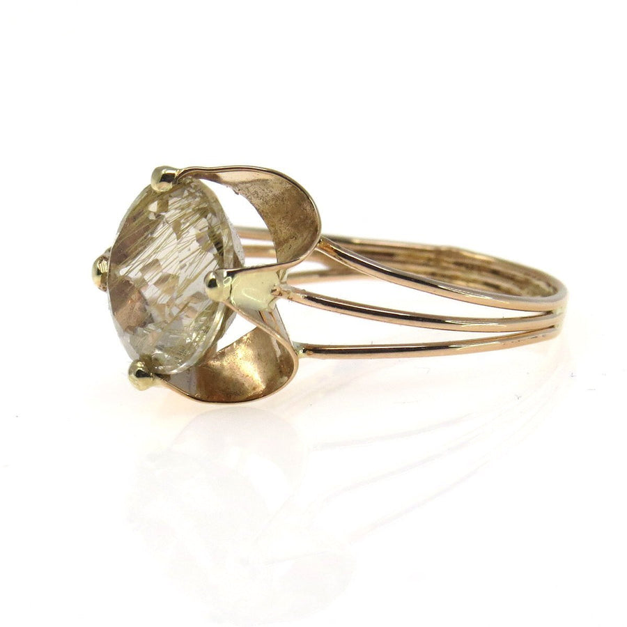 Retro Rose-y Gold 6 Cts Gem Rutilated Quartz Statement Ring