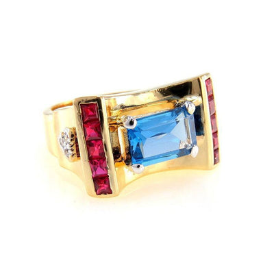 Retro Topaz Ruby Statement Ring in Gilt Sterling Retro, 1940s