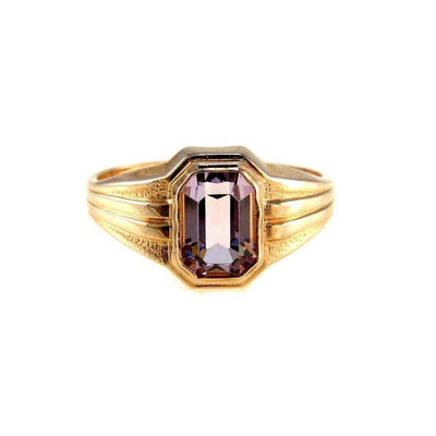 Rose de France Amethyst Gold Signet Ring Vintage, 1930s to 1980s