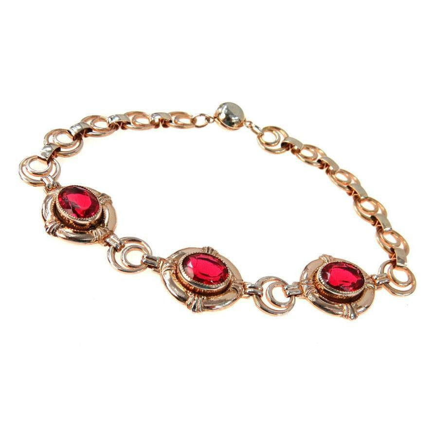 Rose Gold Faux Ruby Linked Bracelet Art Deco Era Art Deco, 1920s to 1930s