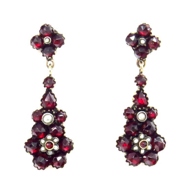 Rose Gold Filled Bohemian Garnets Seed Pearl Drop Earrings Victorian, 1830s to 1900s