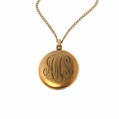 Round Initials AMS Antique Locket Necklace Edwardian, 1901 to 1920s
