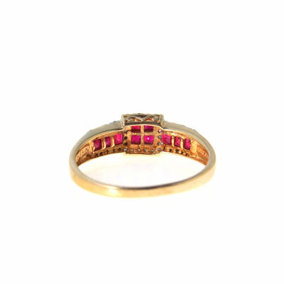 Ruby Diamond 14k Gold Ring Square Halo Vintage, 1930s to 1980s