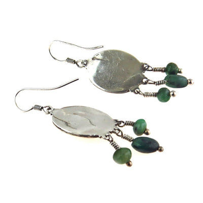 Ruby Zoisite Sterling Silver Boho Drop Earrings Vintage, 1930s to 1980s