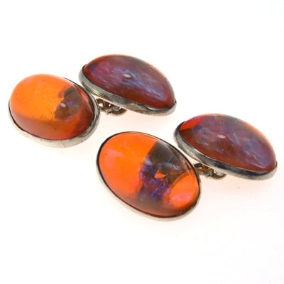 Saphiret Glass Sterling Silver Cufflinks Victorian, 1830s to 1900s