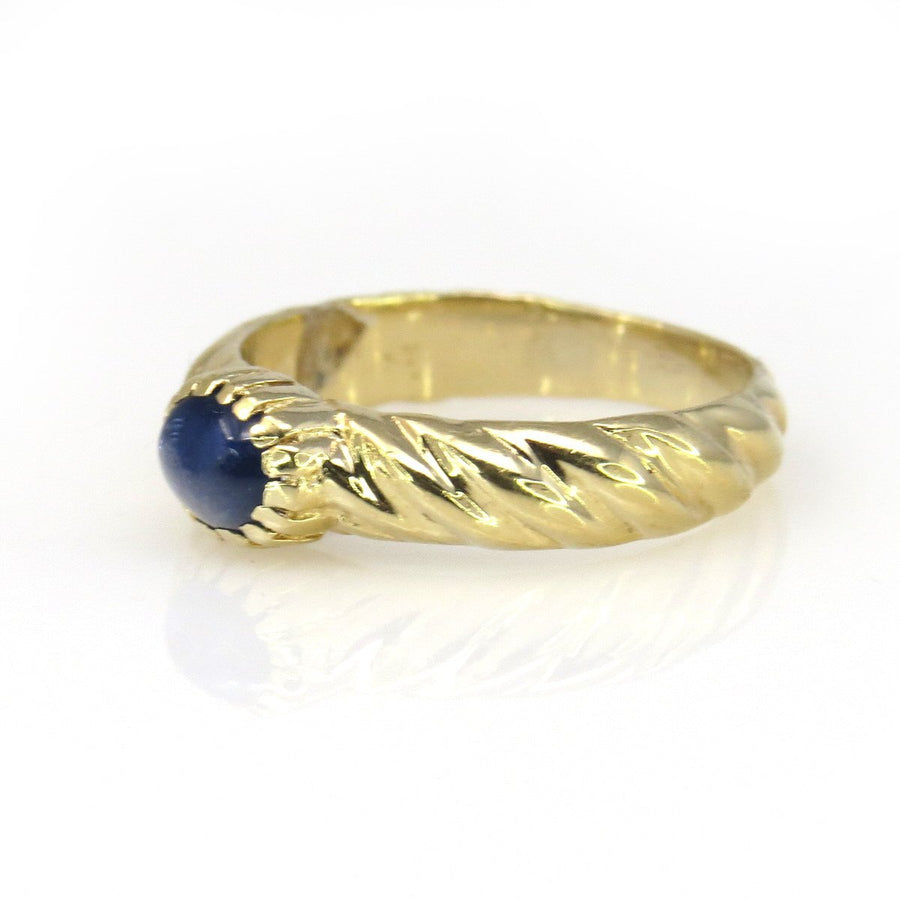 Sapphire Cabochon 14k Gold Twisted Band Ring Vintage, 1930s to 1980s