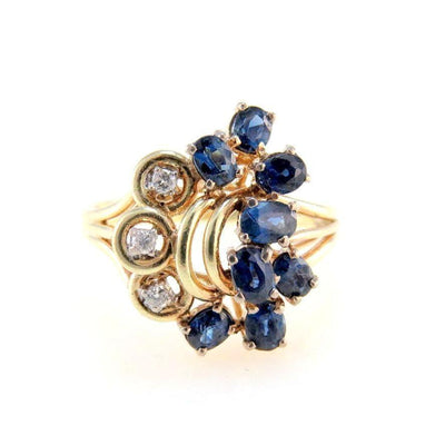 Sapphire Diamond Cluster 14k Gold Ring Vintage, 1930s to 1980s