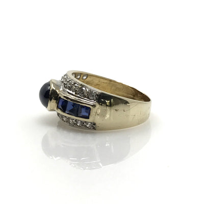 Sapphire Diamond Wide Band Ring Vintage, 1930s to 1980s