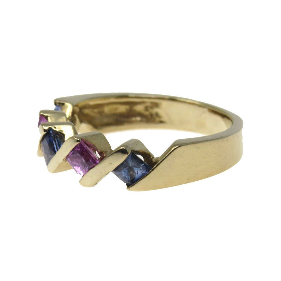 Sapphire Pink Ruby Stacking Band Ring Vintage, 1930s to 1980s